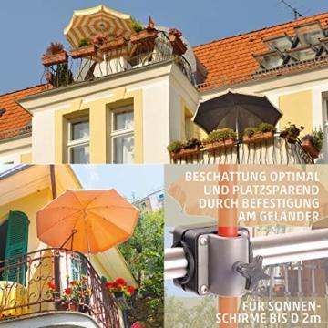 Sonnenschirmhalter Balkongeländer - Sunnyboy, der Kleine - Platzsparender Balkon Schirmhalter für Sonnenschirme mit Schirmstock Ø bis 25mm - Made in Germany - 2