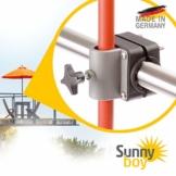 Sonnenschirmhalter Balkongeländer - Sunnyboy, der Kleine - Platzsparender Balkon Schirmhalter für Sonnenschirme mit Schirmstock Ø bis 25mm - Made in Germany - 1