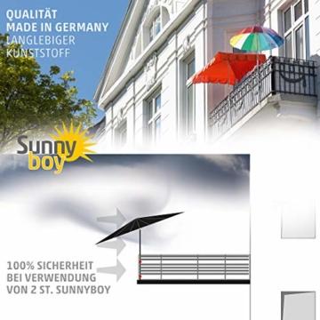 Sonnenschirmhalter Balkongeländer - Sunnyboy, der Kleine - Platzsparender Balkon Schirmhalter für Sonnenschirme mit Schirmstock Ø bis 25mm - Made in Germany - 6