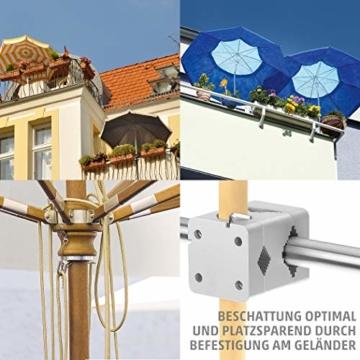 Sonnenschirmhalter Balkongeländer - Sunnystar, der Edle aus Aluminium - Exklusiver Balkon Schirmhalter für Sonnenschirme mit Schirmstock Ø 20-50mm - Made in Germany - 2