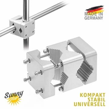 Sonnenschirmhalter Balkongeländer - Sunnystar, der Edle aus Aluminium - Exklusiver Balkon Schirmhalter für Sonnenschirme mit Schirmstock Ø 20-50mm - Made in Germany - 3
