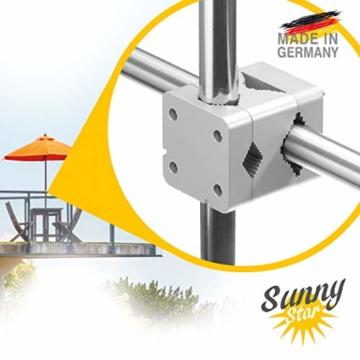 Sonnenschirmhalter Balkongeländer - Sunnystar, der Edle aus Aluminium - Exklusiver Balkon Schirmhalter für Sonnenschirme mit Schirmstock Ø 20-50mm - Made in Germany - 1