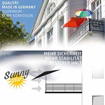 Sonnenschirmhalter Balkongeländer - Sunnystar, der Edle aus Aluminium - Exklusiver Balkon Schirmhalter für Sonnenschirme mit Schirmstock Ø 20-50mm - Made in Germany - 6