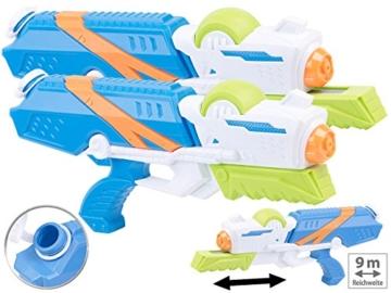Speeron Wasserspritzpistole: 2er-Set XL-Kinder-Wasserpistolen mit extra-großem Wassertank, 850 ml (Spritzpistole Kinder) - 2