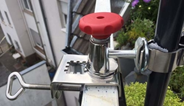 STABIELO NEU - 1 x schirmhalter Balkon - für Schirmstöcke bis 38 mm Ø - 360 ° drehbar - Polierter Edelstahl - V4A - Rostfrei - Seewasserfest - Säurebeständig - antimagnetisch - - 2