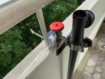 STABIELO NEU - 1 x schirmhalter Balkon - für Schirmstöcke bis 38 mm Ø - 360 ° drehbar - Polierter Edelstahl - V4A - Rostfrei - Seewasserfest - Säurebeständig - antimagnetisch - - 3