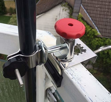 STABIELO NEU - 1 x schirmhalter Balkon - für Schirmstöcke bis 38 mm Ø - 360 ° drehbar - Polierter Edelstahl - V4A - Rostfrei - Seewasserfest - Säurebeständig - antimagnetisch - - 4