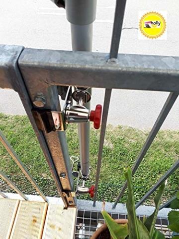 STABIELO NEU - 1 x schirmhalter Balkon - für Schirmstöcke bis 38 mm Ø - 360 ° drehbar - Polierter Edelstahl - V4A - Rostfrei - Seewasserfest - Säurebeständig - antimagnetisch - - 1
