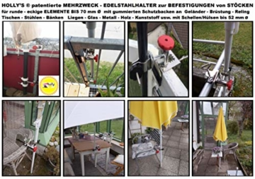STABIELO NEU - 1 x schirmhalter Balkon - für Schirmstöcke bis 38 mm Ø - 360 ° drehbar - Polierter Edelstahl - V4A - Rostfrei - Seewasserfest - Säurebeständig - antimagnetisch - - 5