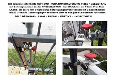 STABIELO NEU - 1 x schirmhalter Balkon - für Schirmstöcke bis 38 mm Ø - 360 ° drehbar - Polierter Edelstahl - V4A - Rostfrei - Seewasserfest - Säurebeständig - antimagnetisch - - 6