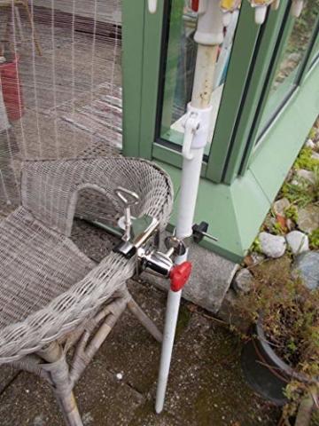 STABIELO NEU - 1 x schirmhalter Balkon - für Schirmstöcke bis 38 mm Ø - 360 ° drehbar - Polierter Edelstahl - V4A - Rostfrei - Seewasserfest - Säurebeständig - antimagnetisch - - 7