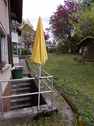 STABIELO NEU - 1 x schirmhalter Balkon - für Schirmstöcke bis 38 mm Ø - 360 ° drehbar - Polierter Edelstahl - V4A - Rostfrei - Seewasserfest - Säurebeständig - antimagnetisch - - 8