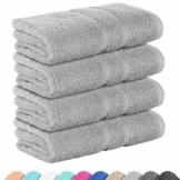 StickandShine 4er Set Premium Frottee Handtuch 50x100 cm in hellgrau in 500g/m² aus 100% Baumwolle Öko-TEX Standard 100 Materialien - 1