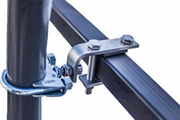 STORM-PROOF - Sonnenschirmhalter für rechteckige Geländer, Schirmstockdurchmesser von 32mm bis 38mm, stabile 2-Punkt-Befestigung komplett aus Stahl - 1