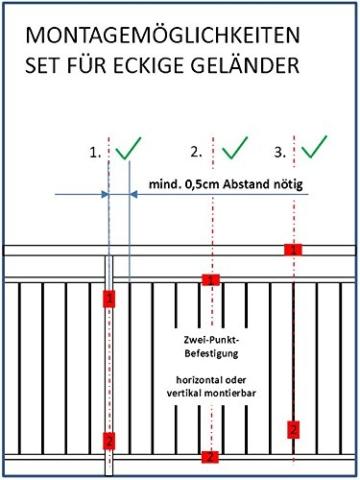 STORM-PROOF - Sonnenschirmhalter für rechteckige Geländer, Schirmstockdurchmesser von 32mm bis 38mm, stabile 2-Punkt-Befestigung komplett aus Stahl - 5