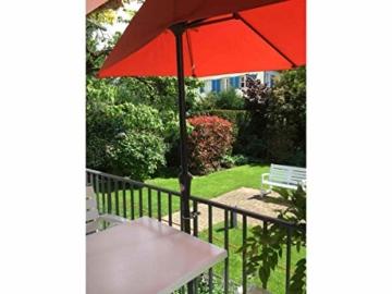 STORM-PROOF - Sonnenschirmhalter für rechteckige Geländer, Schirmstockdurchmesser von 32mm bis 38mm, stabile 2-Punkt-Befestigung komplett aus Stahl - 6