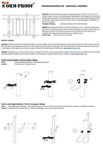 STORM-PROOF - Sonnenschirmhalter für rechteckige Geländer, Schirmstockdurchmesser von 32mm bis 38mm, stabile 2-Punkt-Befestigung komplett aus Stahl - 7