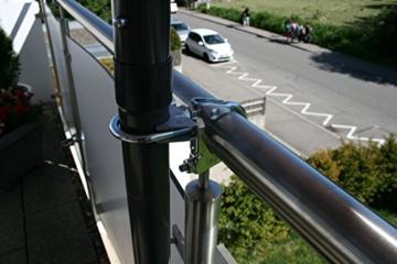 STORM-PROOF - Sonnenschirmhalter für runde Geländer, Schirmstockdurchmesser von 32mm bis 38mm, stabile 2-Punkt-Befestigung komplett aus Stahl - 4