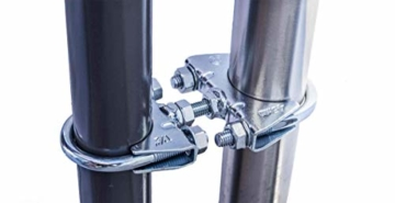 STORM-PROOF - Sonnenschirmhalter für runde Geländer, Schirmstockdurchmesser von 32mm bis 38mm, stabile 2-Punkt-Befestigung komplett aus Stahl - 1