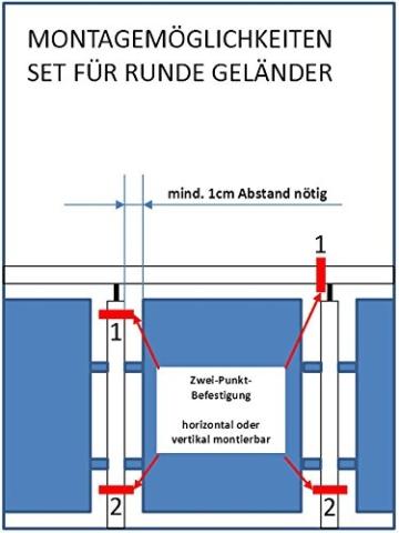 STORM-PROOF - Sonnenschirmhalter für runde Geländer, Schirmstockdurchmesser von 32mm bis 38mm, stabile 2-Punkt-Befestigung komplett aus Stahl - 6