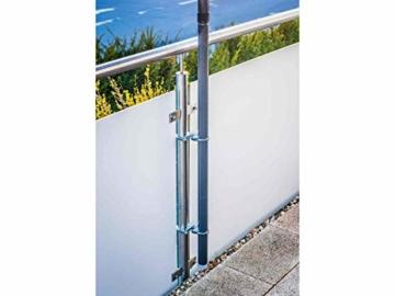 STORM-PROOF - Sonnenschirmhalter für runde Geländer, Schirmstockdurchmesser von 32mm bis 38mm, stabile 2-Punkt-Befestigung komplett aus Stahl - 8