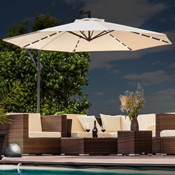 Swing&Harmonie Sonnenschirm mit LED Beleuchtung Ampelschirm 300cm / 350cm Solar Garten Schirm Pavillon (Ø 300cm, Creme) - 1