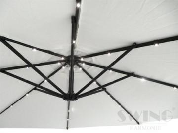 Swing&Harmonie Sonnenschirm mit LED Beleuchtung Ampelschirm 300cm / 350cm Solar Garten Schirm Pavillon (Ø 300cm, Creme) - 5