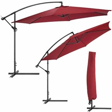 TecTake 800033 Sonnenschirm Ampelschirm mit Gestell + UV Schutz 350cm + Schutzhülle - Diverse Farben - (Rot | Nr. 400625) - 3