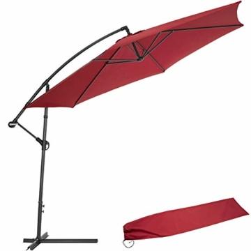 TecTake 800033 Sonnenschirm Ampelschirm mit Gestell + UV Schutz 350cm + Schutzhülle - Diverse Farben - (Rot | Nr. 400625) - 1
