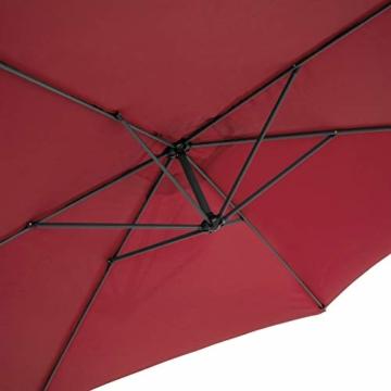TecTake 800033 Sonnenschirm Ampelschirm mit Gestell + UV Schutz 350cm + Schutzhülle - Diverse Farben - (Rot | Nr. 400625) - 7