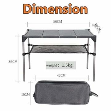 Tentock Outdoor Grilltisch aus Aluminiumlegierung, zusammenklappbar, für Angeln, Camping, Picknicktisch, mit Netz-Aufbewahrungsschicht und Lampenhalterung, Table Set - 2