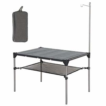 Tentock Outdoor Grilltisch aus Aluminiumlegierung, zusammenklappbar, für Angeln, Camping, Picknicktisch, mit Netz-Aufbewahrungsschicht und Lampenhalterung, Table Set - 1