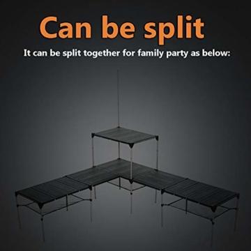 Tentock Outdoor Grilltisch aus Aluminiumlegierung, zusammenklappbar, für Angeln, Camping, Picknicktisch, mit Netz-Aufbewahrungsschicht und Lampenhalterung, Table Set - 5