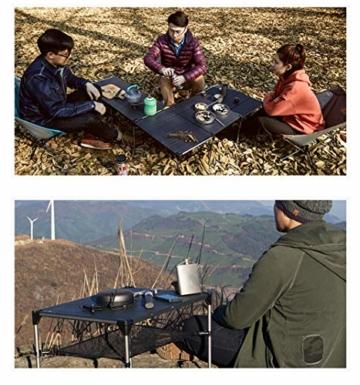 Tentock Outdoor Grilltisch aus Aluminiumlegierung, zusammenklappbar, für Angeln, Camping, Picknicktisch, mit Netz-Aufbewahrungsschicht und Lampenhalterung, Table Set - 7