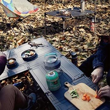 Tentock Outdoor Grilltisch aus Aluminiumlegierung, zusammenklappbar, für Angeln, Camping, Picknicktisch, mit Netz-Aufbewahrungsschicht und Lampenhalterung, Table Set - 8