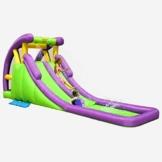 Tidyard Kinder Planschbecken Wasserpark Groß mit Wasserrutsche und Kletterwand, Aufblasbare Wasserrutsche Pool, Wasserspielcenter Kinderspielzeug für Outdoor Garten - 1