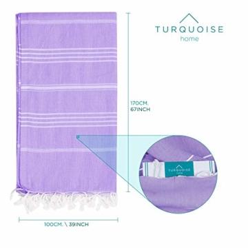 Turquoise Home - Großes türkisches Pestemal-Badetuch – Hamamtuch – XXL-Badetuch 175 x 100 cm – Saunatuch (Lilac, 1) - 2