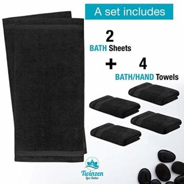 Twinzen Chemikalien-Frei Handtuch Set (6-Teilig) mit 4 Handtücher und 2 Badetüchern, 100% Baumwolle - Oeko TEX Std 100 Zertifizierung - Weich und Saugstark - Waschmaschinenfest - Schwimmbad - 2