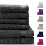 Twinzen Chemikalien-Frei Handtuch Set (6-Teilig) mit 4 Handtücher und 2 Badetüchern, 100% Baumwolle - Oeko TEX Std 100 Zertifizierung - Weich und Saugstark - Waschmaschinenfest - Schwimmbad - 1