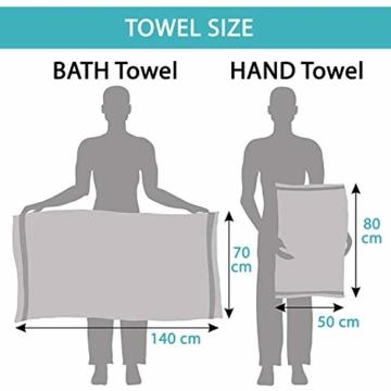 Twinzen Chemikalien-Frei Handtuch Set (6-Teilig) mit 4 Handtücher und 2 Badetüchern, 100% Baumwolle - Oeko TEX Std 100 Zertifizierung - Weich und Saugstark - Waschmaschinenfest - Schwimmbad - 3