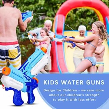 Ucradle Wasserpistole, 2er Set Water Gun Spielzeug für Kinder, 300ML Wasserpistolen mit 9 Meter Reichweite, Party Water Blaster Strand Sommer Pool Badespielzeug Strandspielzeug ab 6 Jahr - 2