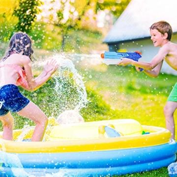 Ucradle Wasserpistole, 2er Set Water Gun Spielzeug für Kinder, 300ML Wasserpistolen mit 9 Meter Reichweite, Party Water Blaster Strand Sommer Pool Badespielzeug Strandspielzeug ab 6 Jahr - 4