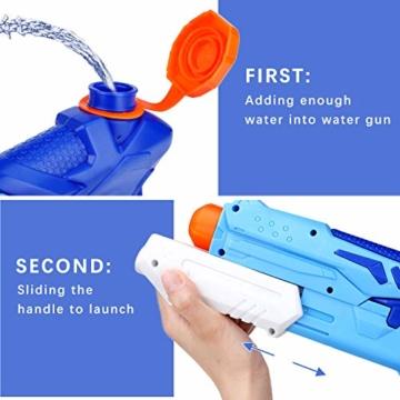 Ucradle Wasserpistole, 2er Set Water Gun Spielzeug für Kinder, 300ML Wasserpistolen mit 9 Meter Reichweite, Party Water Blaster Strand Sommer Pool Badespielzeug Strandspielzeug ab 6 Jahr - 5
