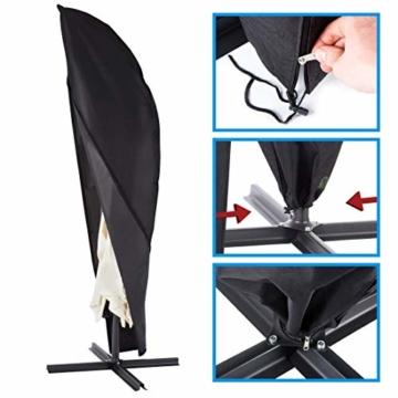 Ultranatura Schutzhülle, für Ampelschirm passend für 2m, 3m, 3,5m Durchmesser, Sonnenschirm-Hülle, UV-Schutz, durchgängiger Reißverschluss und Boden Kordelzug, aus Oxford 600D, wetterfest - 3