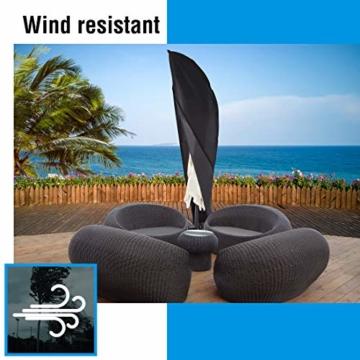Ultranatura Schutzhülle, für Ampelschirm passend für 2m, 3m, 3,5m Durchmesser, Sonnenschirm-Hülle, UV-Schutz, durchgängiger Reißverschluss und Boden Kordelzug, aus Oxford 600D, wetterfest - 4