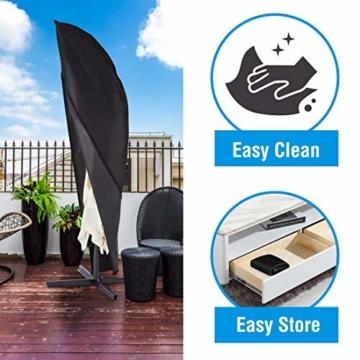 Ultranatura Schutzhülle, für Ampelschirm passend für 2m, 3m, 3,5m Durchmesser, Sonnenschirm-Hülle, UV-Schutz, durchgängiger Reißverschluss und Boden Kordelzug, aus Oxford 600D, wetterfest - 6