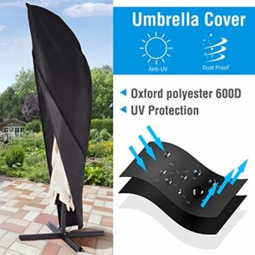 Ultranatura Schutzhülle, für Ampelschirm passend für 2m, 3m, 3,5m Durchmesser, Sonnenschirm-Hülle, UV-Schutz, durchgängiger Reißverschluss und Boden Kordelzug, aus Oxford 600D, wetterfest - 7