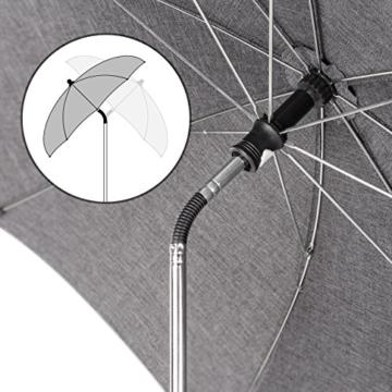 Universal Sonnenschirm Sonnenschutz für Kinderwagen & Buggy - UV Schutz 50+ / 73 cm Durchmesser / biegsam / Universalhalterung für Rund- und Ovalrohre - Melange Grau - 2