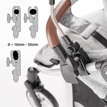 Universal Sonnenschirm Sonnenschutz für Kinderwagen & Buggy - UV Schutz 50+ / 73 cm Durchmesser / biegsam / Universalhalterung für Rund- und Ovalrohre - Melange Grau - 4