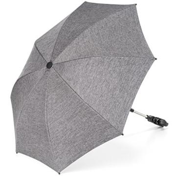 Universal Sonnenschirm Sonnenschutz für Kinderwagen & Buggy - UV Schutz 50+ / 73 cm Durchmesser / biegsam / Universalhalterung für Rund- und Ovalrohre - Melange Grau - 1